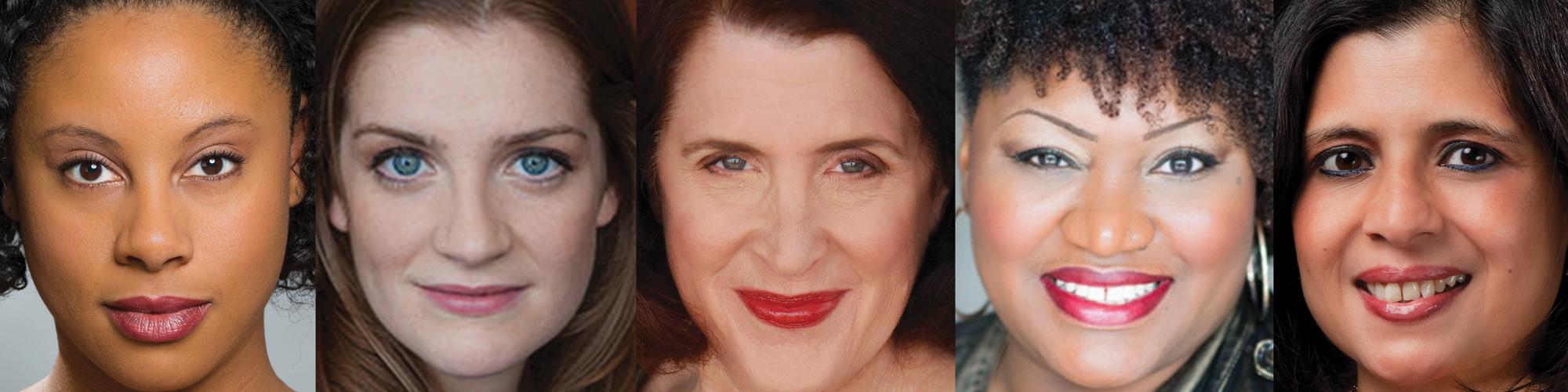cast of PRINCIPAL PRINCIPLE: Elena Flory-Barnes, Brenda Joyner, Joanne Klein, Shaunyce Omar, and Meenakshi Rishi